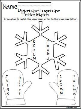 winter letter matching activity alphabet preschool worksheets kindergarten worksheets. Black Bedroom Furniture Sets. Home Design Ideas