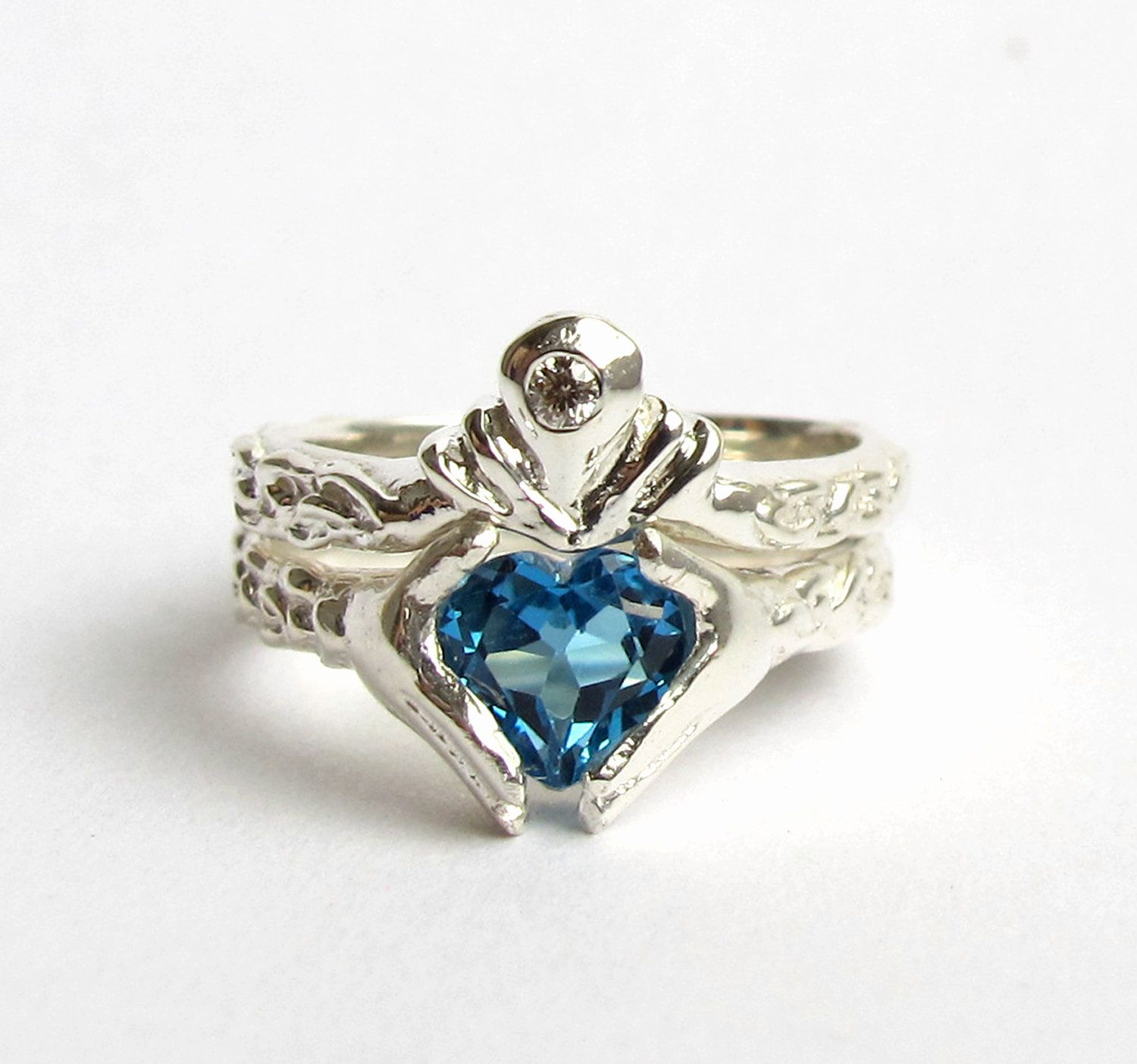 claddagh wedding set white gold and diamond blue topaz or red
