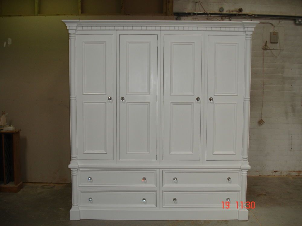 Georgian Style White Painted Large 4 door Solid Pine Shabby Chic ...