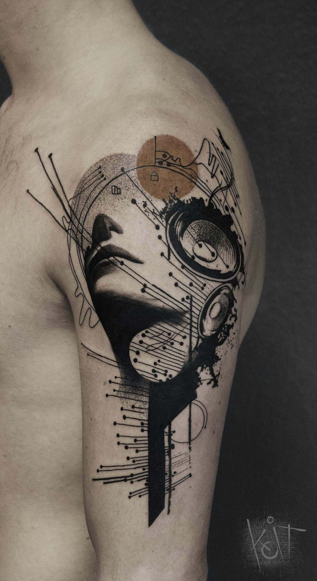 e00ae9d71 Graphic style, music theme arm tattoo with girl face, speakers and abstract  elements. Ink | Inked men | Abstract tattoo | Berlin tattoo artist |  Germany ...