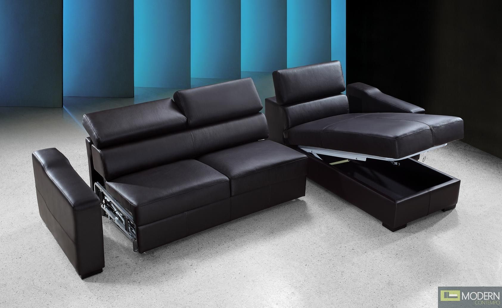 This comfortable black leather sectional not only