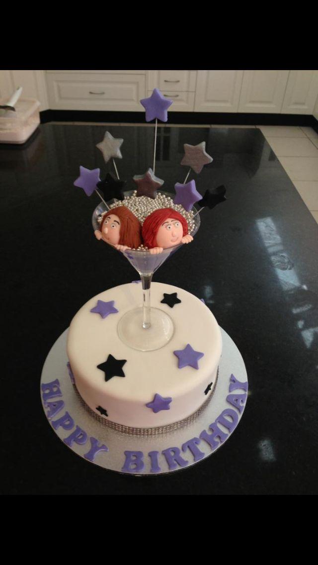 Birthday Cake With Martini Glass Topper Cakes Pinterest Cake