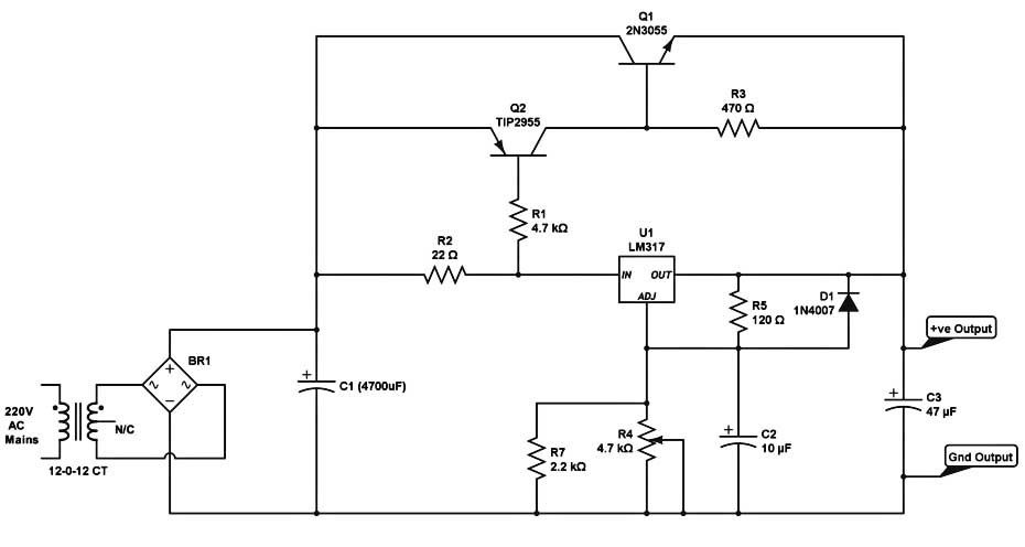Lm317 High Current Dc Regulated Power Supply Circuit Power Supply Circuit Power Supply Voltage Regulator