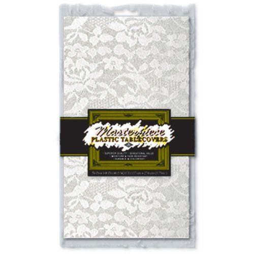 Masterpiece Plastic Lace Rectangular Tablecover (white) Party Accessory  (1 count) (1/Pkg) Beistle http://smile.amazon.com/dp/B000R4MX22/ref=cm_sw_r_pi_dp_aeGVtb0NDGCR27CK