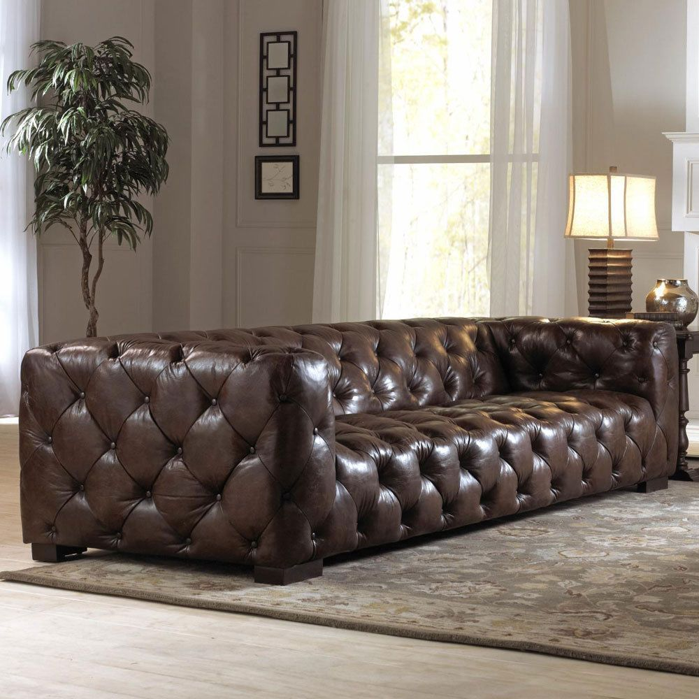 110 Inch Sofa Leather Modern Chesterfield With Restoration Hardware Giftcard Loveseats Garden