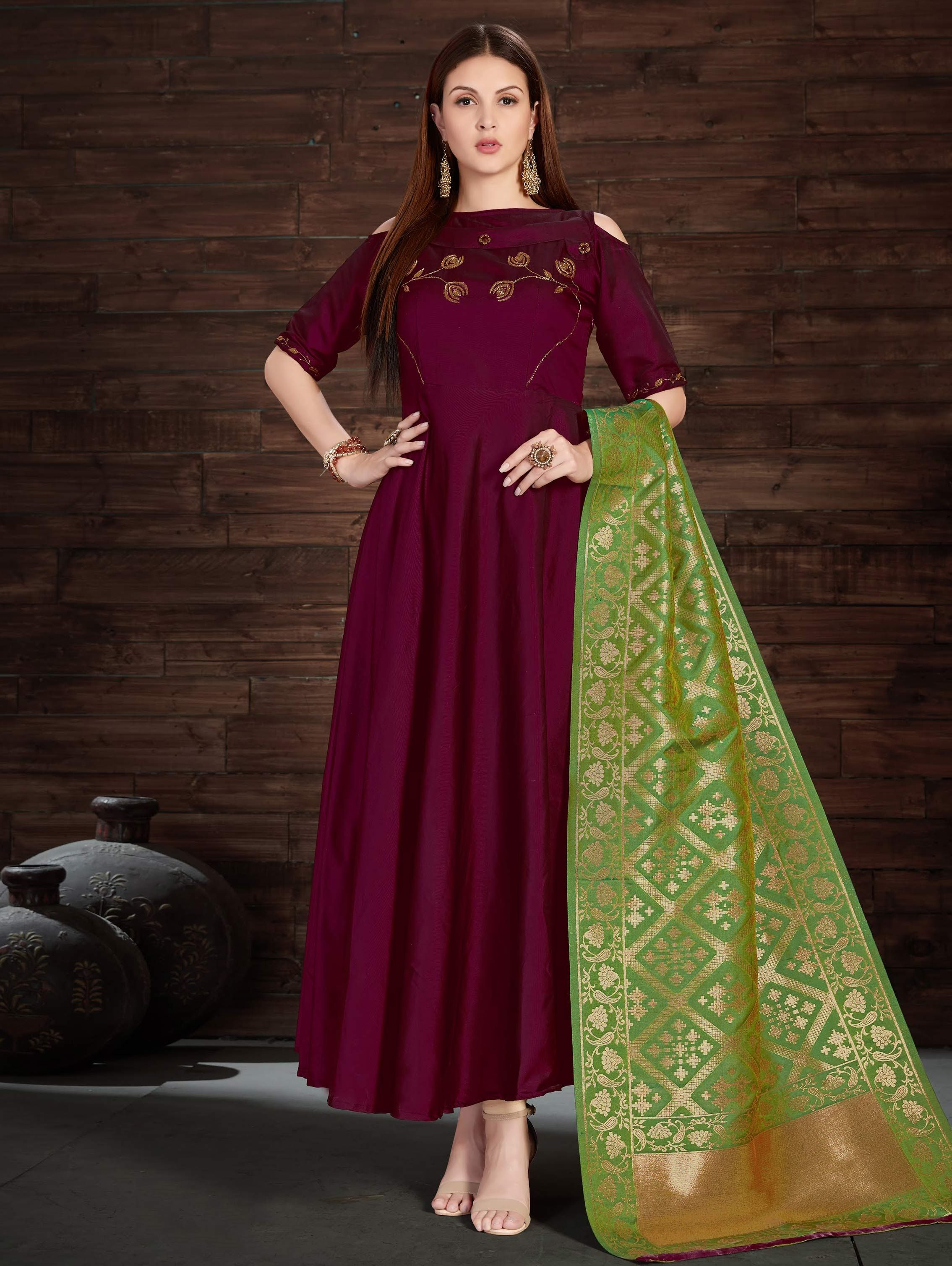 1981e5af9617a Buy Wine Purple Silk Anarkali Cold Shoulder Suit with Banarasi Silk Dupatta  - SKDAI4737