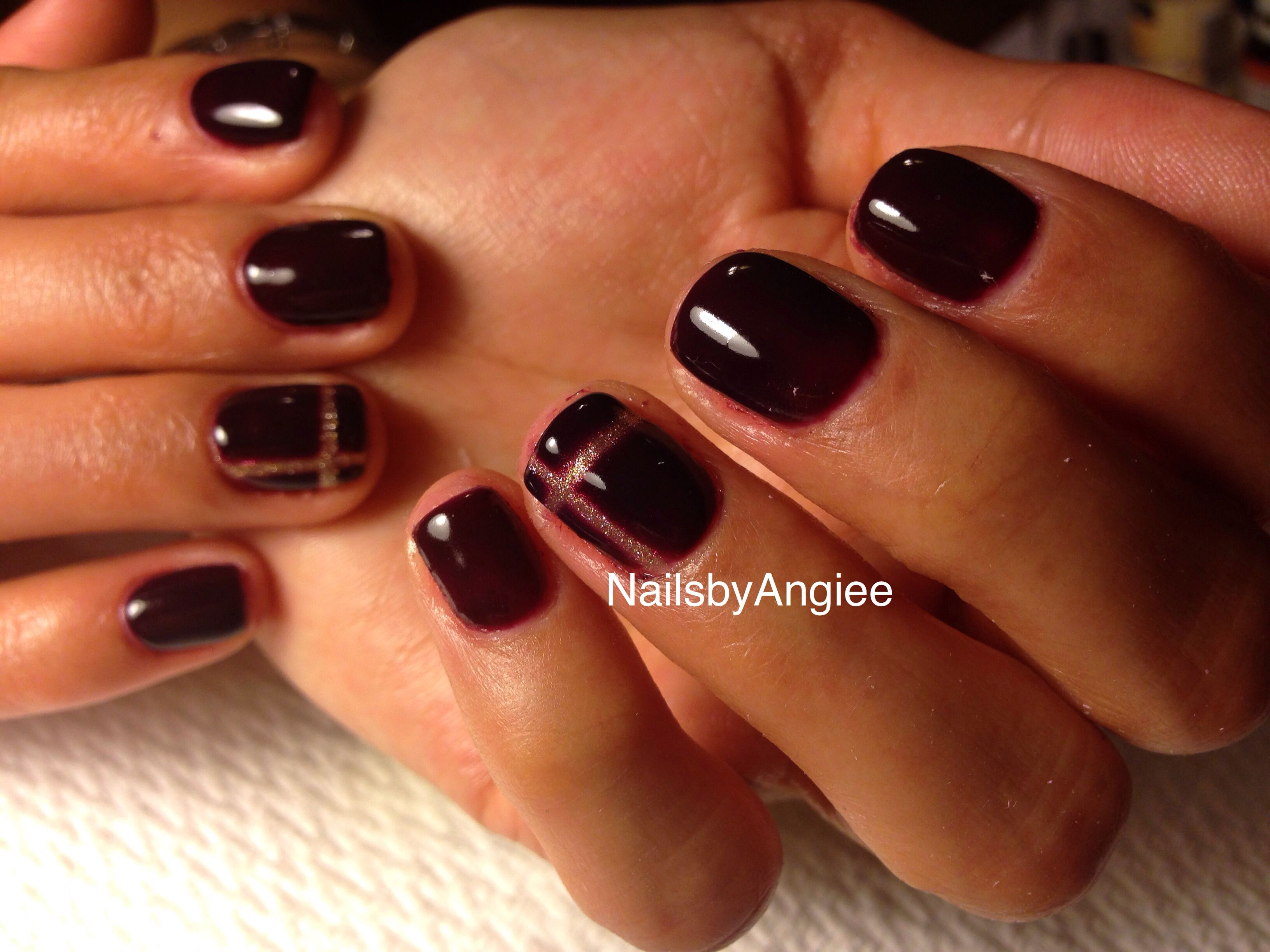 Essie and Gelish mix gel colors (dark purple) with simple gold nail ...