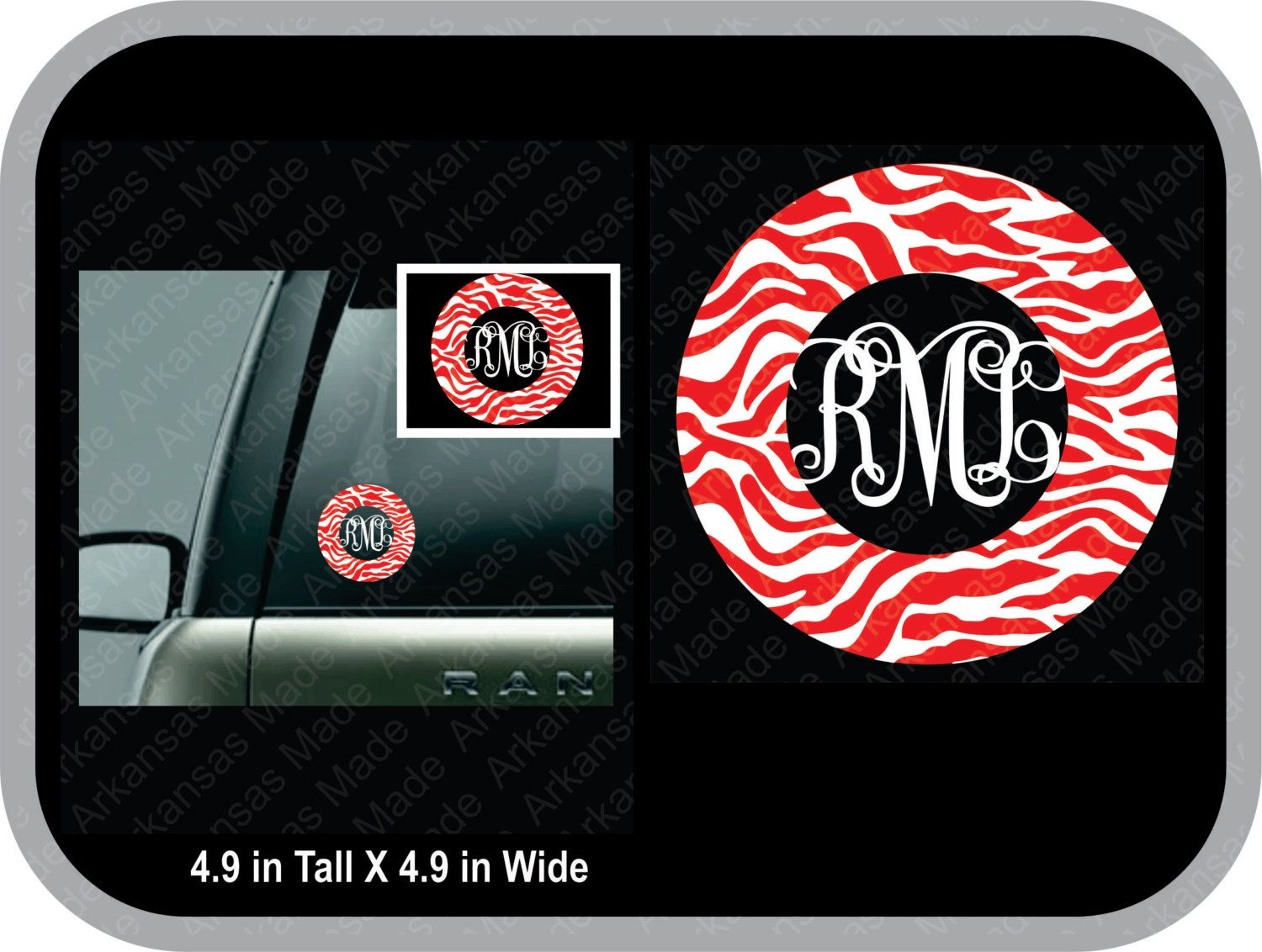 Zebra vine monogram decal, zebra car decal, round monogram car sticker, zebra monogram decal, monogram decal glitter - pinned by pin4etsy.com