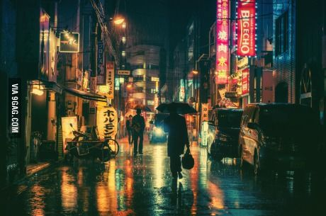 A rainy night in Tokyo. Photographed by Masashi Wakui