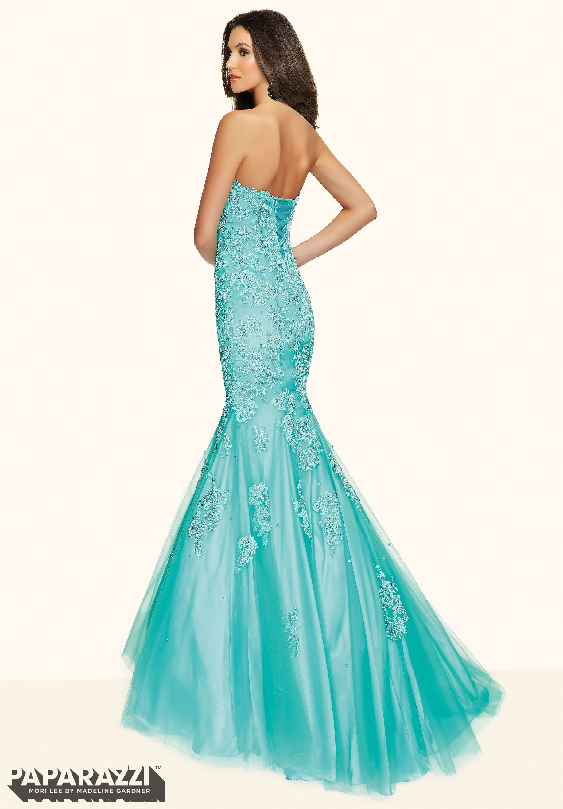 Prom Dress YEZXO BEADED LACE APPLIQUES ON TULLE Corset Back Closure ...