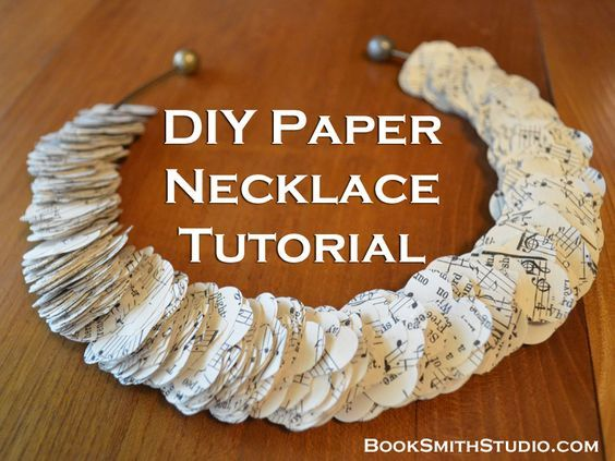 DIY Paper Necklace Tutorial - BookSmithStudio.com  (Sheet Music necklace - I love it!)