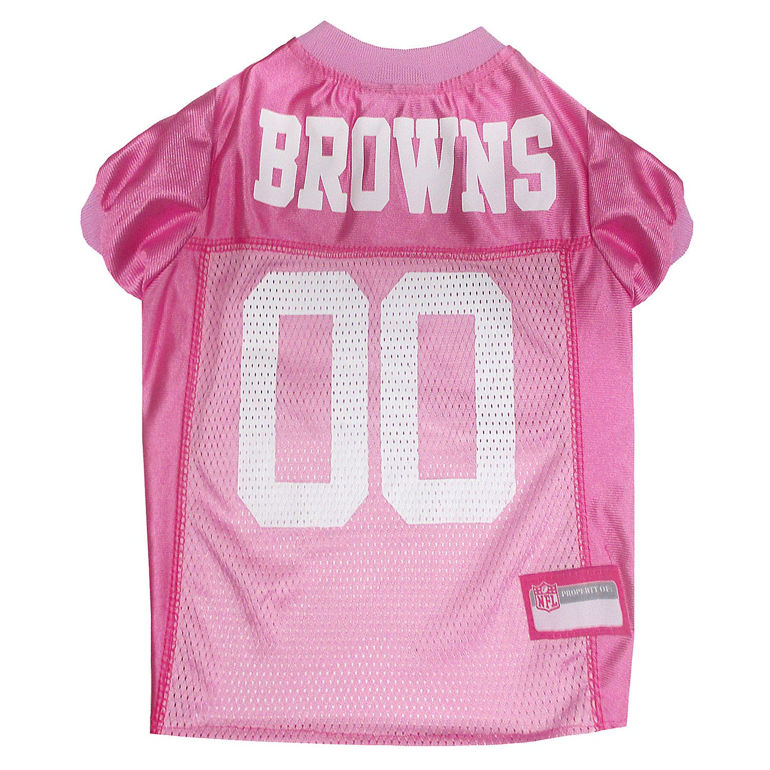 Pets First Cleveland Browns NFL Pink Mesh Jersey, XSmall
