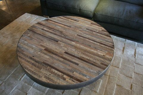 reclaimed wood round coffee table, patchwork design | design ja kahvi