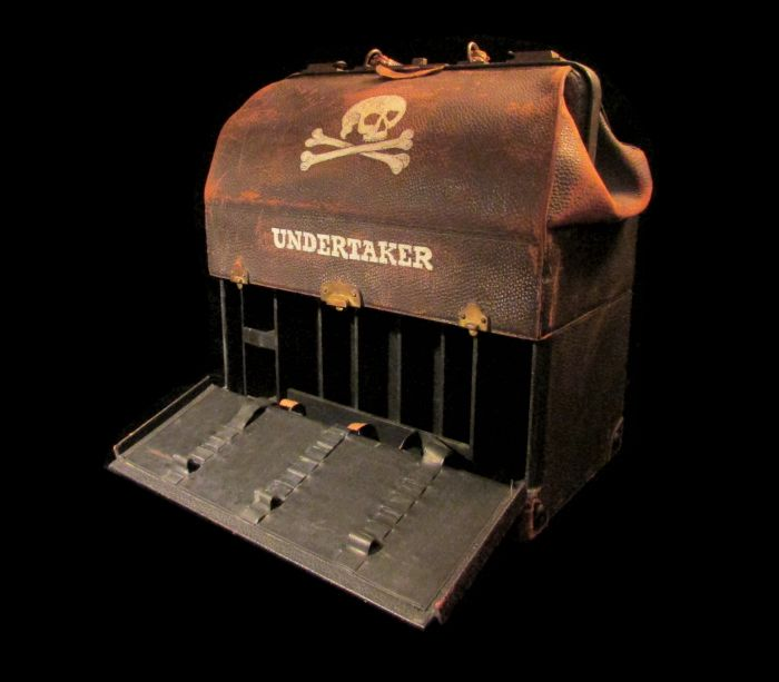 Antique Undertaker's Large Leather Bag