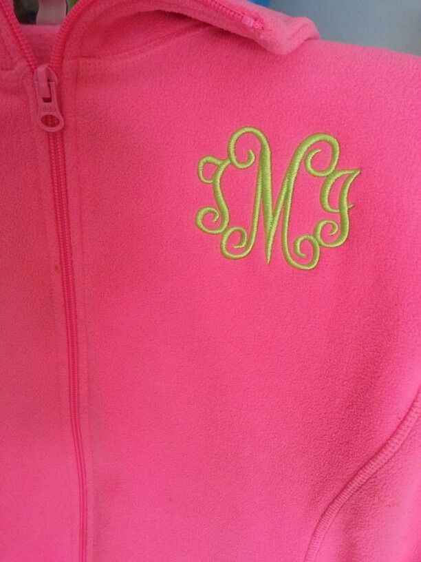 Embroidered initials on a fleece jacket