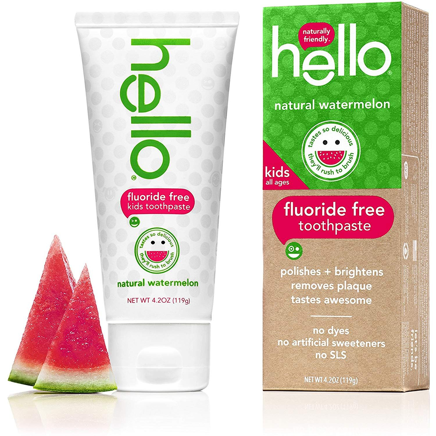 Hello Oral Care Kids Fluoride Free Toothpaste, Natural