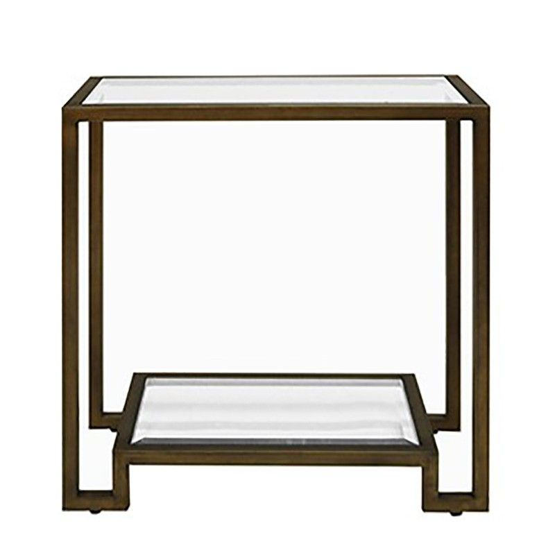 Worlds Away Domino Table in Bronze Side Tables Accent