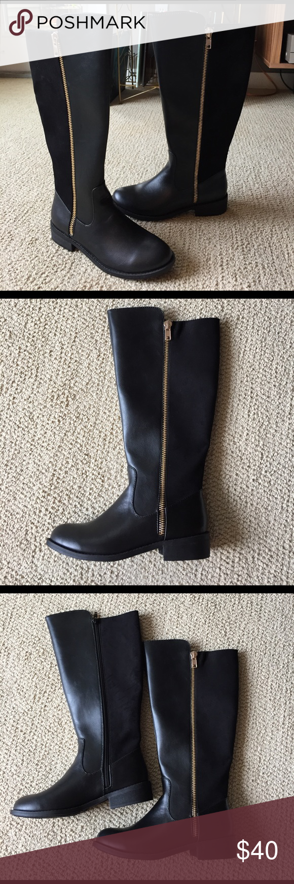 Knee high zipped up boots LC Lauren Conrad faux suede/faux leather boots with sexy metal gold side zipped. New! Never been worn! LC Lauren Conrad Shoes Over the Knee Boots