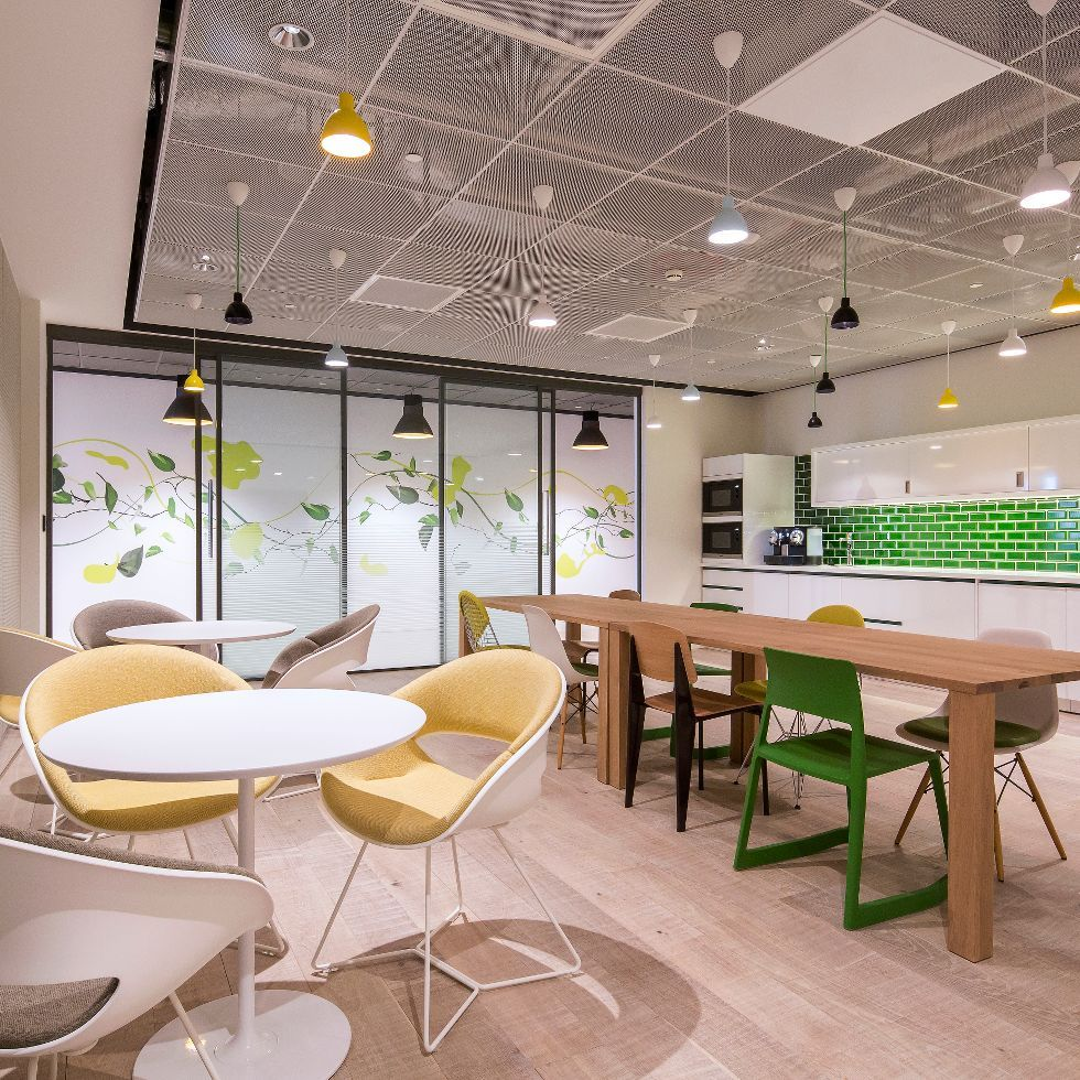 Stylish Use Of Armstrong Metal Mesh Microlook Panels In