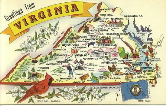 Virginia Postcard Postcards Topicals Categories Maps State - Virginia state map