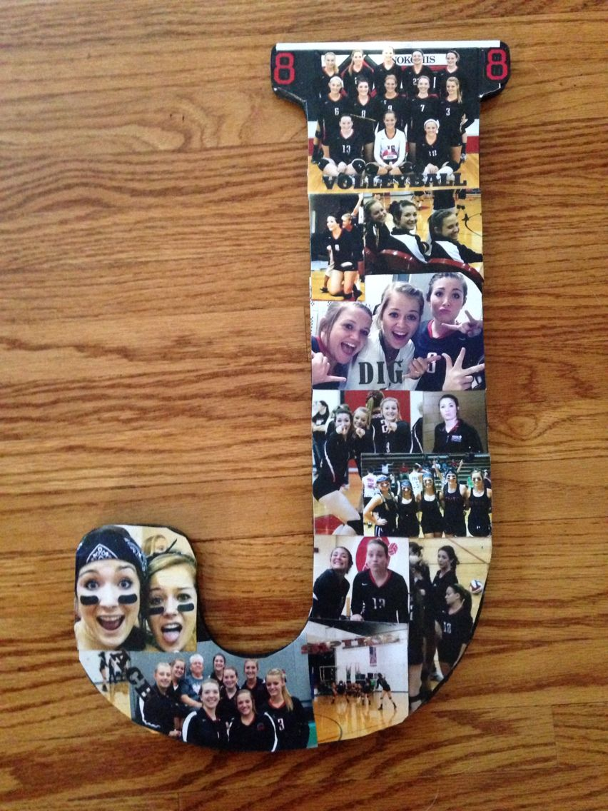 made this for my daughter senior volleyball night painted wooden letter from hobby lobby and
