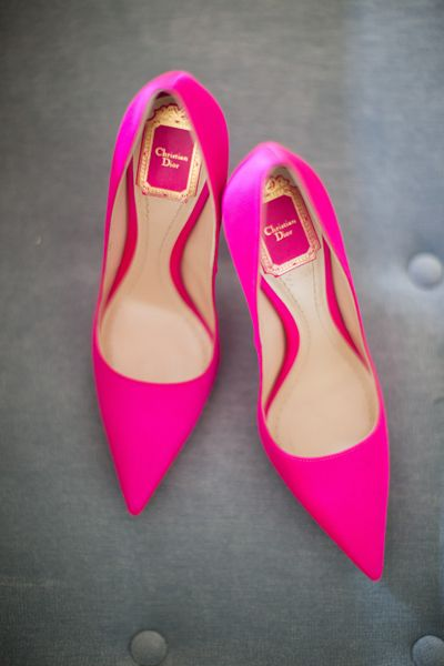 4fad55a2971 Hot Pink Stripes Wedding Inspiration | MODE | Pink shoes, Shoes ...