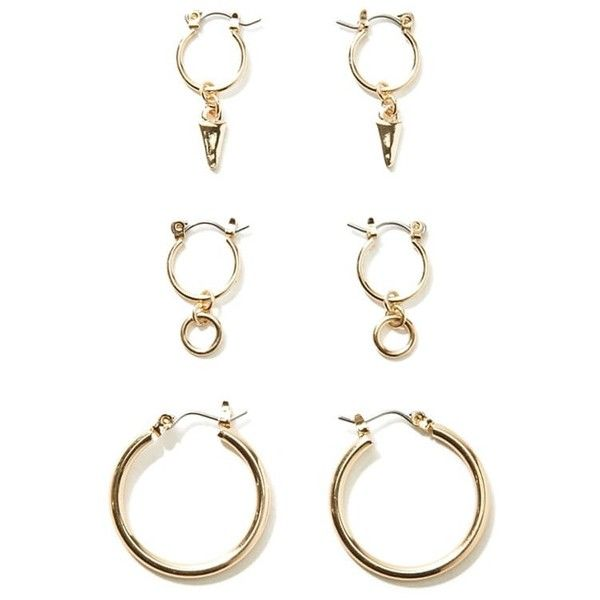 Forever21 Charm Hoop Earring Set 380 Inr Liked On Polyvore Featuring Jewelry