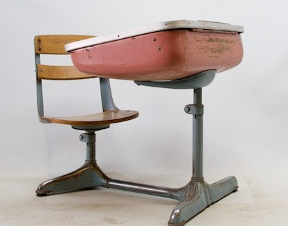 Old school desk style from - grade. We had one in our house growing up. You  lifted the lid and kept your books and supplies inside. - Sas&sabs: Vintage School Desks Home Office Pinterest School