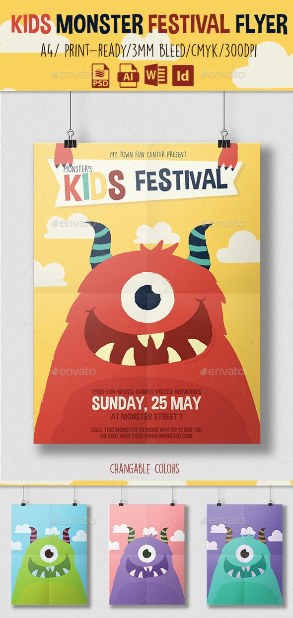 kids monster festival flyer template graphicriver 平面設計