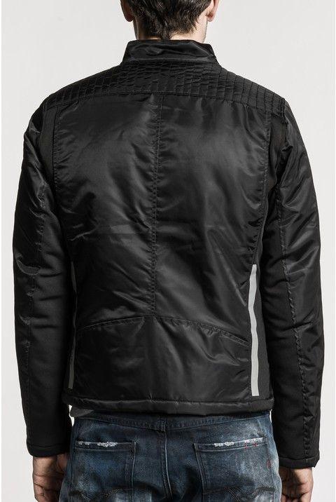 Zip-up nylon twill biker jacket with Korean collar, three front zip pockets,