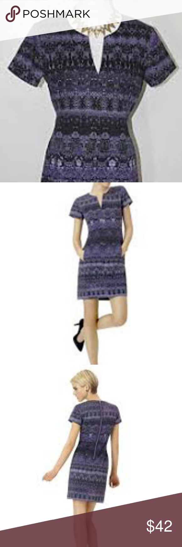 Purple Reptile Snake Short Sleeve Dress V Neck New with