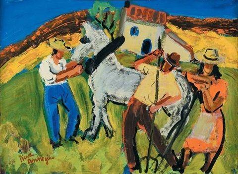 Paysans au cheval by Pierre Ambrogiani