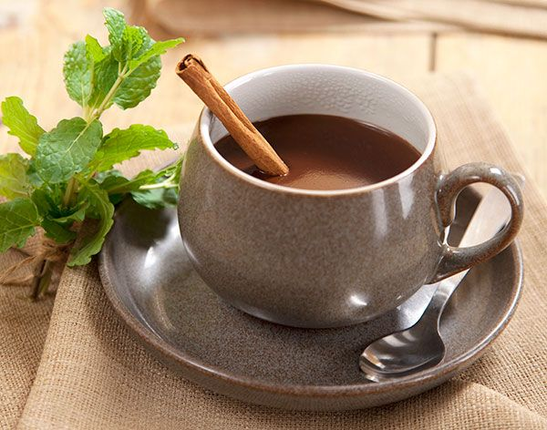 Minty Hot Cocoa   1 cup unsweetened almond milk 2 Tbsp. unsweetened cacao powder or cocoa powder 1 tsp. vanilla 1 tsp. peppermint extract Optional: pinch of pure stevia, to taste*