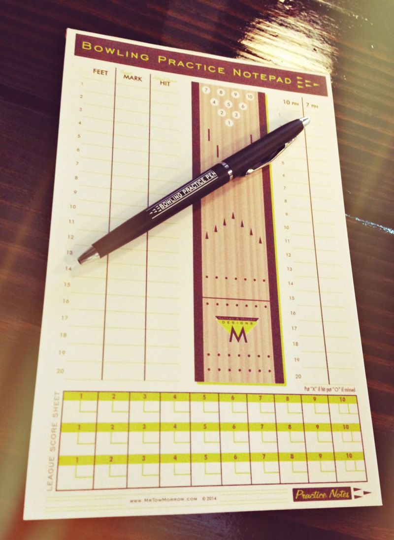 Bowling Practice Notepad & Pen 50 Pages Vintage By Mrtommorrow,