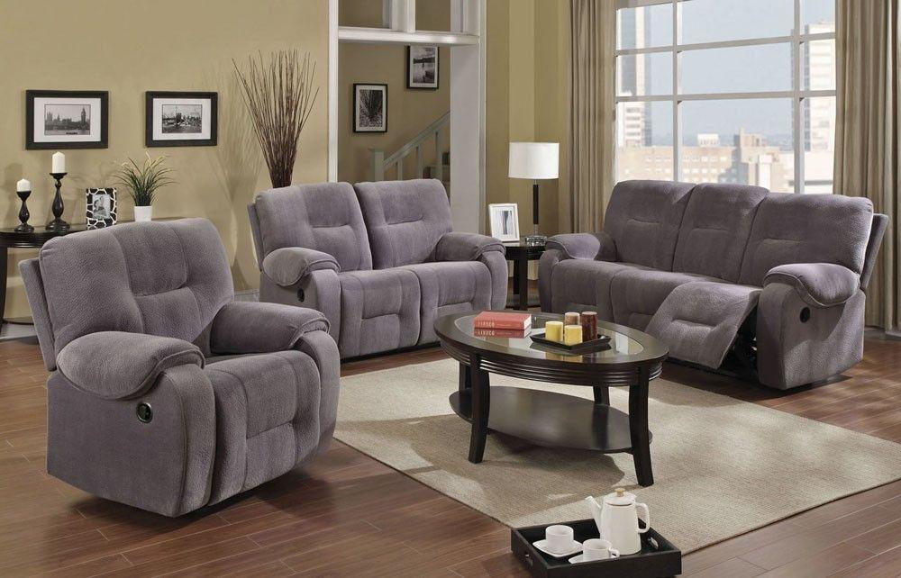 Gail Grey Microfiber Recliner Sofa