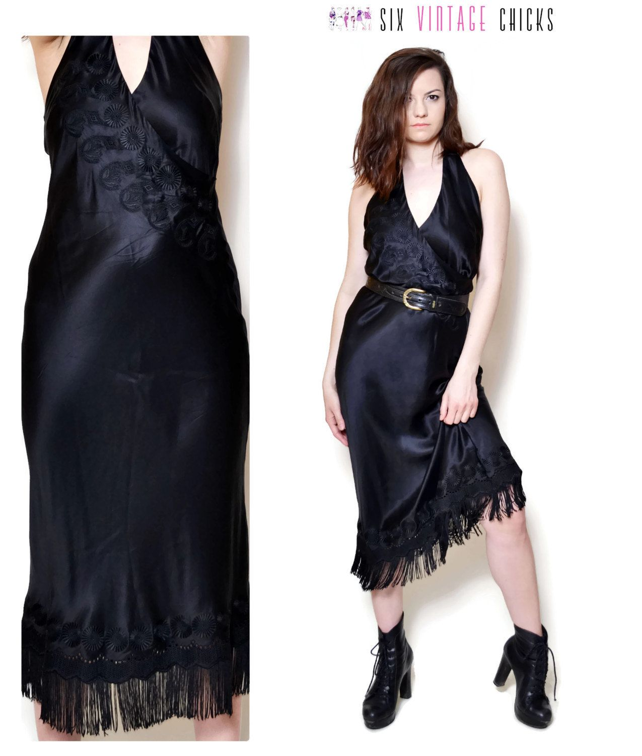 goth dress embroidered 90s prom fringe dresses evening Halter 90s ...