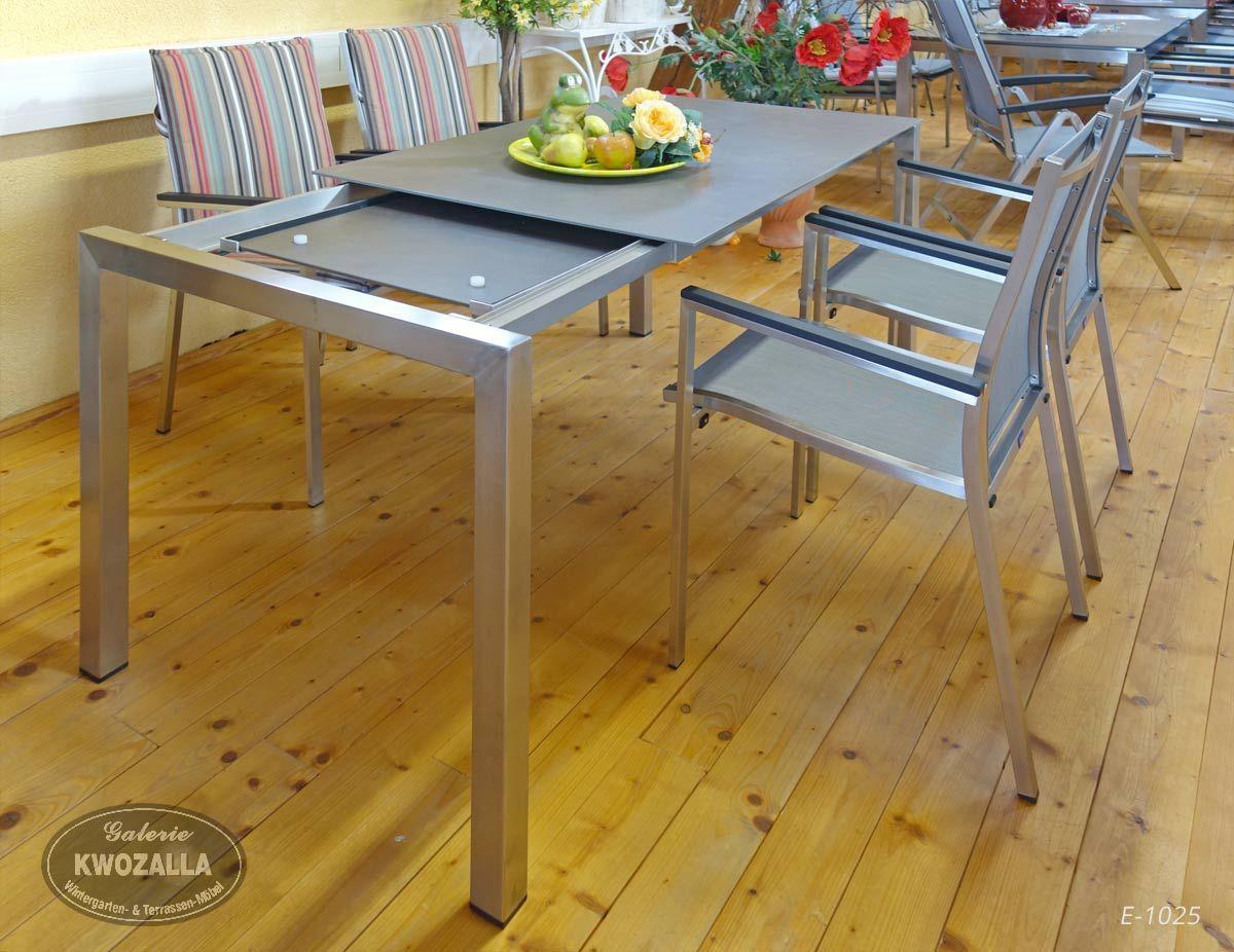 Gartenmöbel Set - Edelstahl Stapelstühle + großer Esstisch zum ...
