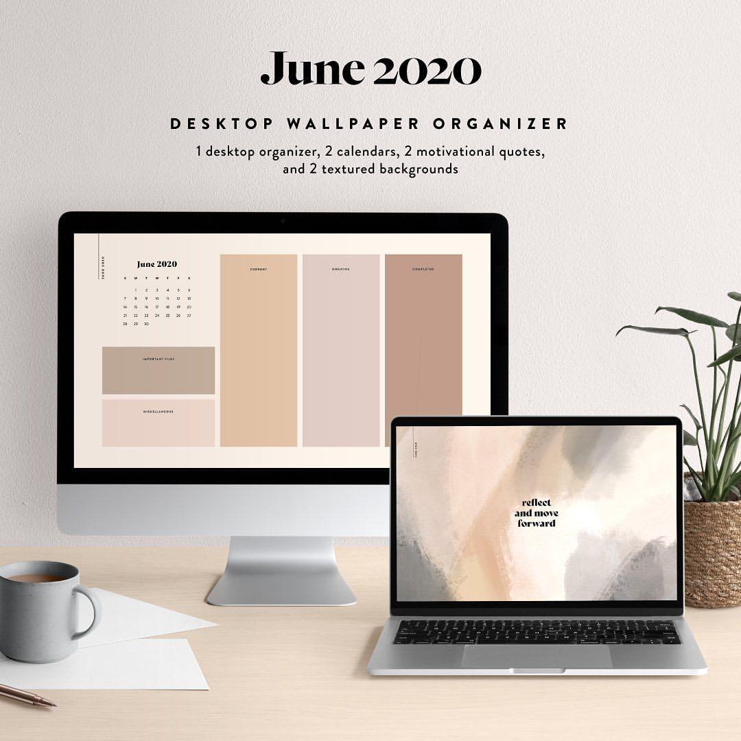 June 2020 Desktop Wallpaper Organizer Minimalist Computer Etsy Desktop Wallpaper Organizer Wallpaper Organizer Desktop Wallpaper