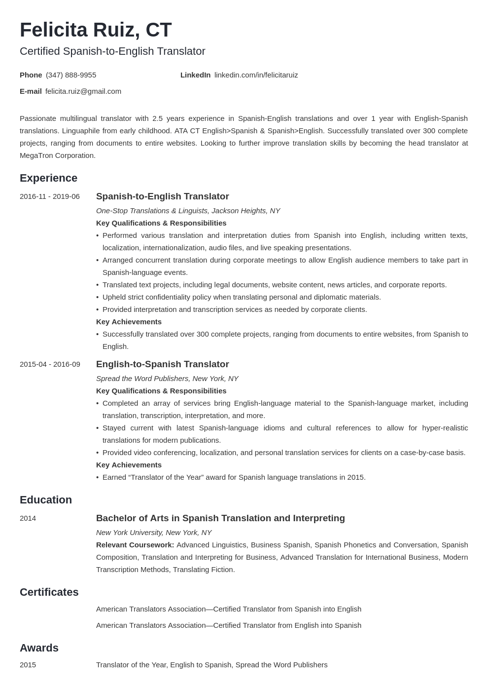 Translator Resume Example Template Minimo Resume Template Resume Examples Job Resume Examples