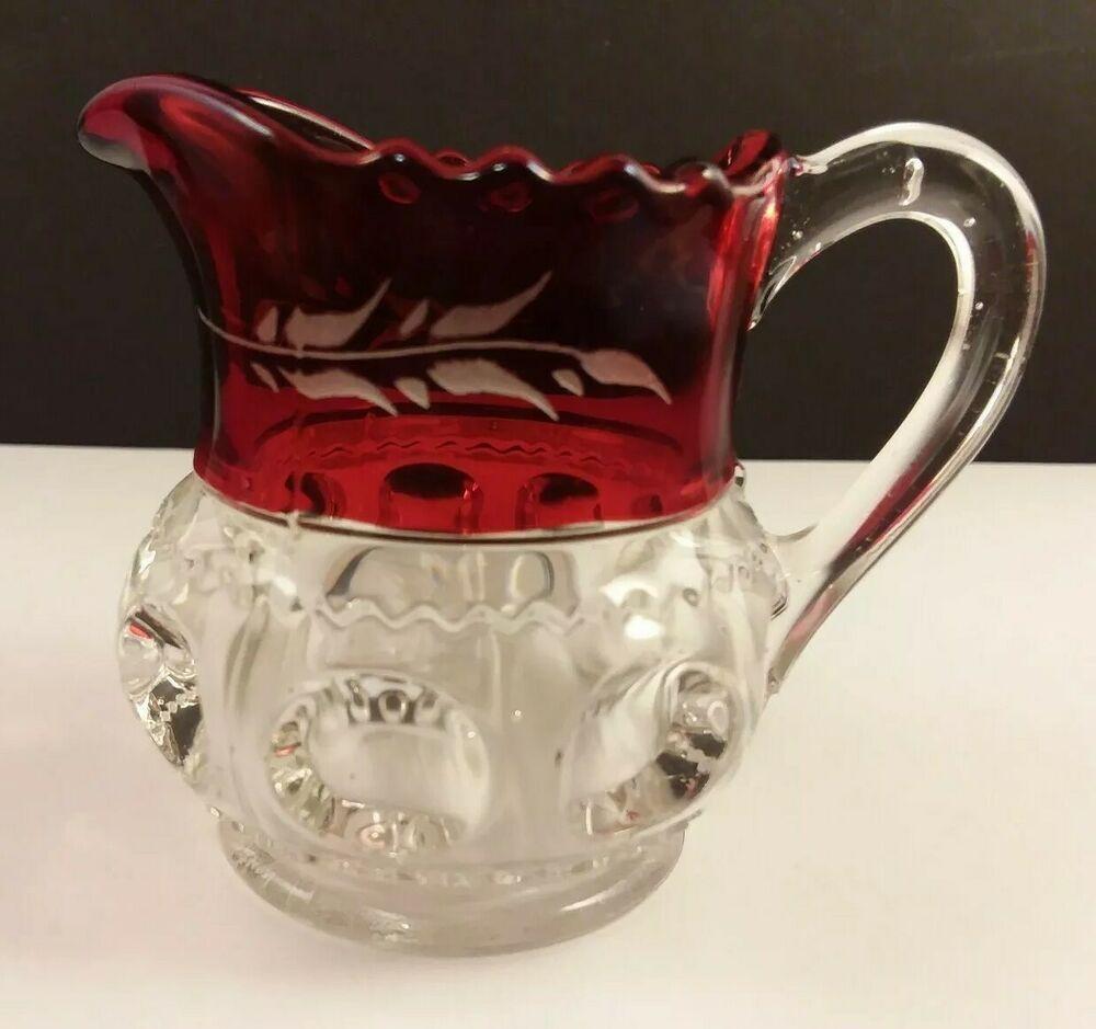 Ruby Stained Eapg Pattern Glass Creamer Small Pitcher Kingston Ci 1893 Bulls Eye Antiqueglassware Pattern Glass Antique Glassware Pitcher
