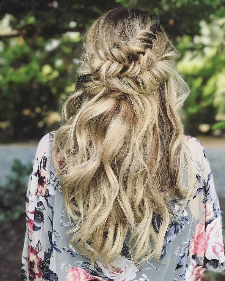 Braided Curly Wedding Hairstyles: Beautiful Half Down Half Up Braided Hairstyle With Curls