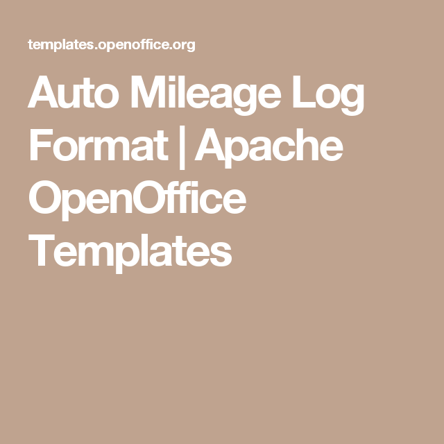 Auto Mileage Log Format  Apache Openoffice Templates  Log