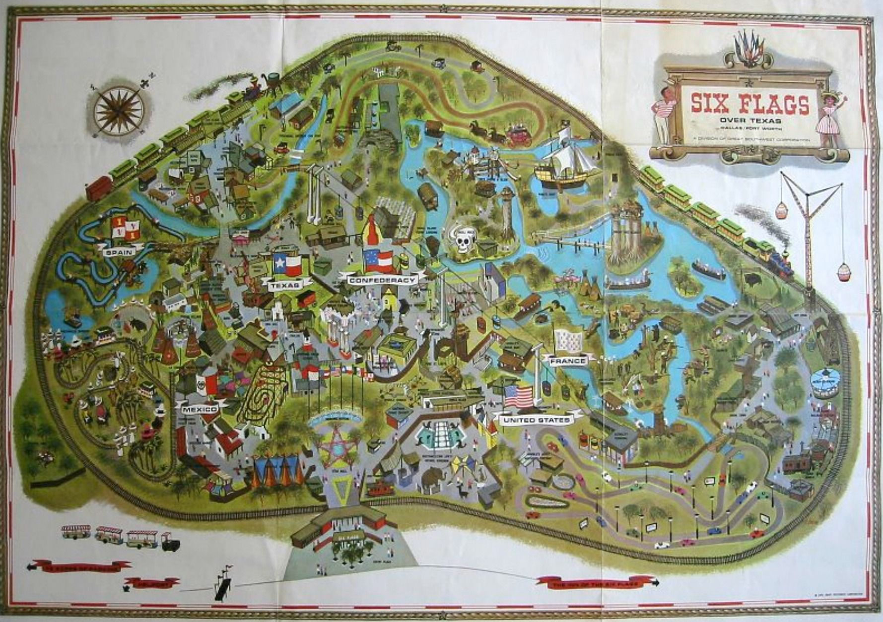 Six Flags Map Mid 1960s Jpg 1 779 1 254 Pixels Six Flags Six Flags Over Texas Flag