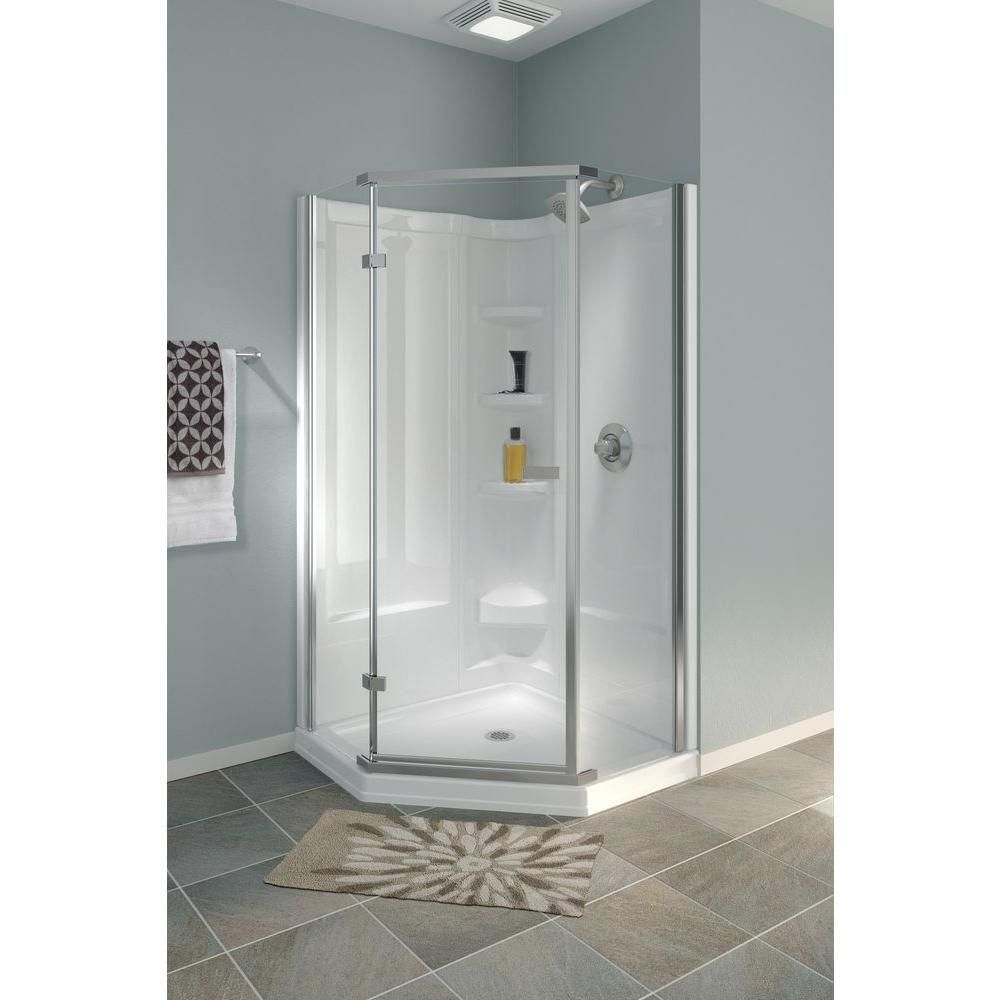 Delta 35 7 8 In X 35 7 8 In X 71 7 8 In Semi Frameless Hinged Neo Angle Shower Enclosure In St In 2020 Neo Angle Shower Neo Angle Shower Enclosures Shower Enclosure