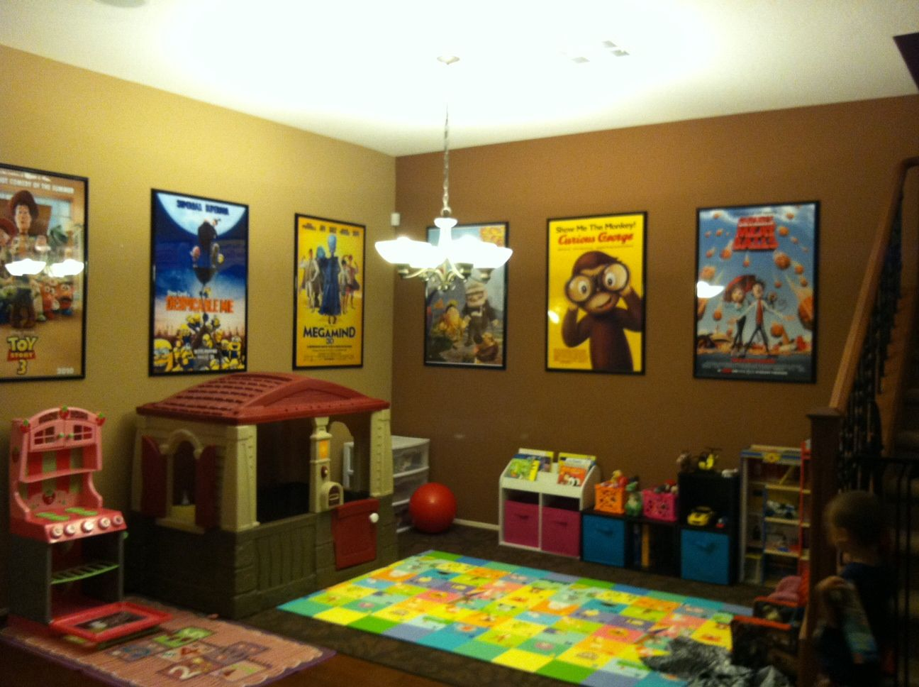This Is My Dining Room Converted Into The Kids Play Area Love The Movie Posters Husband S Great Idea Kids