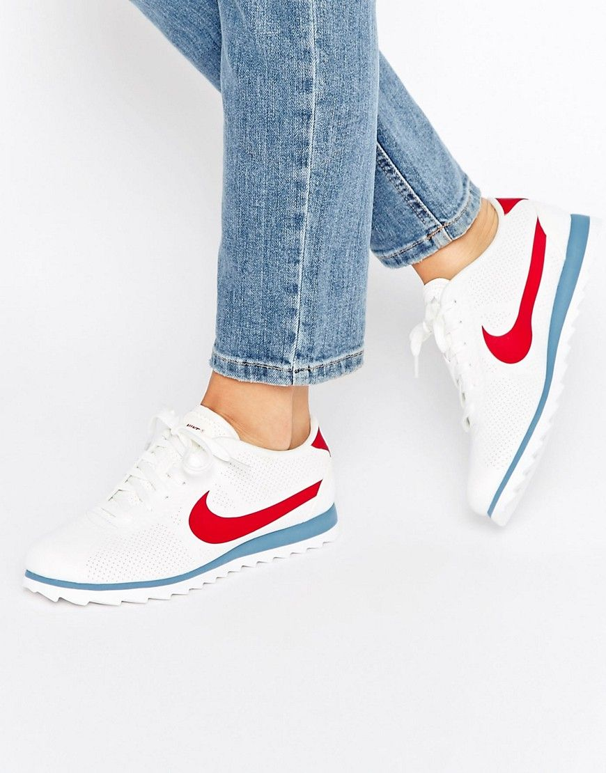 new products 5296c 71613 Image 1 of Nike Cortez Ultra Moire Trainers In Perforated Varsity Red And…
