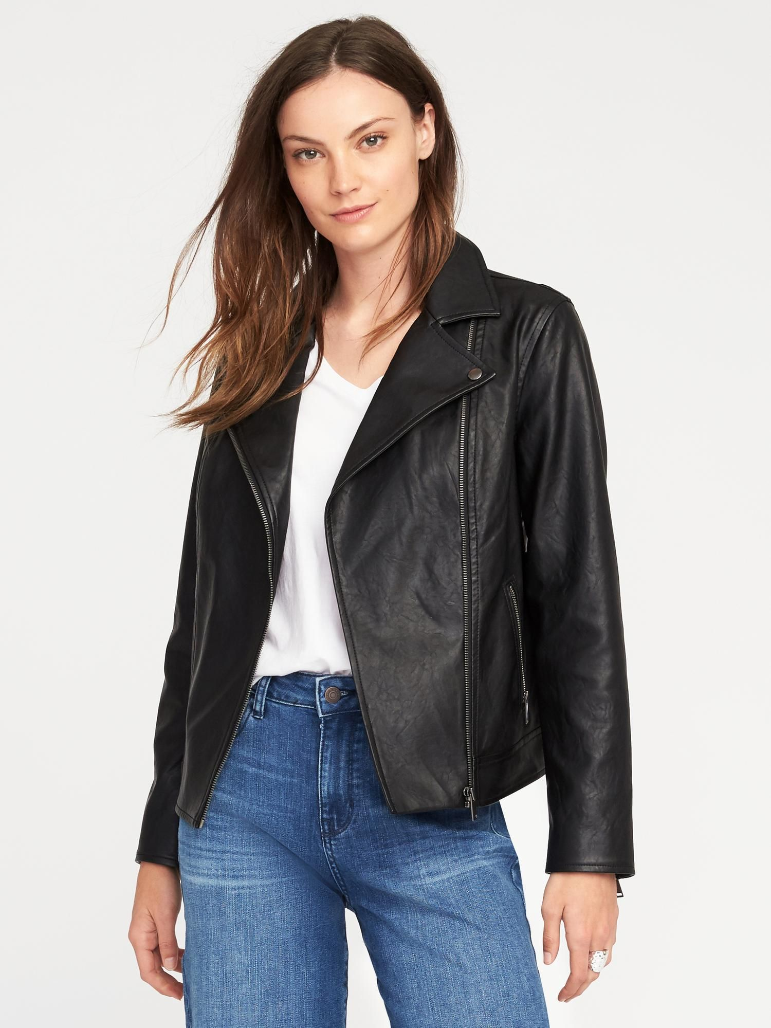 4aa0acac4 Faux-Leather Moto Jacket for Women | Old Navy | Work Jackets | Navy ...