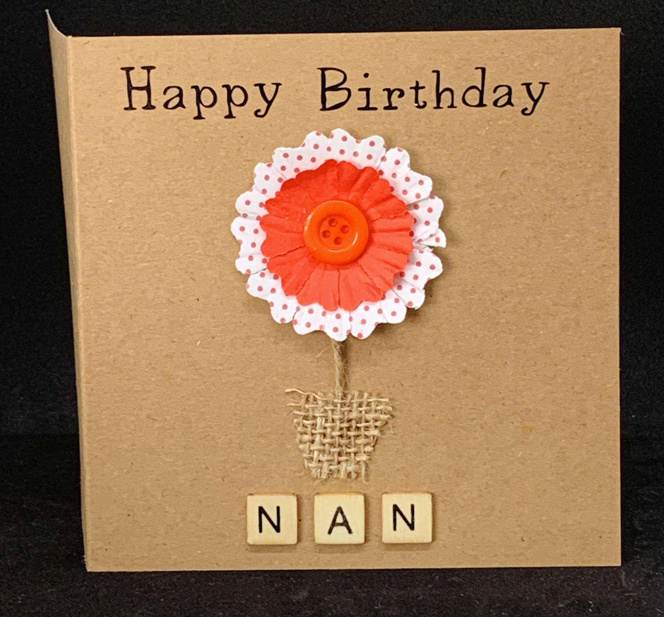 Happy Birthday Nan Personalised Birthday Card For Nan Card Etsy Personalized Birthday Cards Birthday Cards 30th Birthday Cards