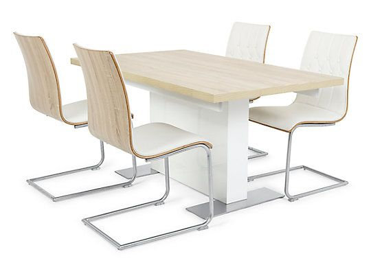 Vieux Extending Dining Table In White And 4 Chairs