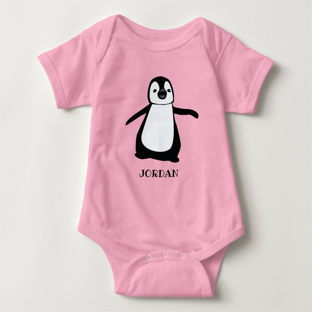 Personalized Pink cute penguin illustration baby Baby Bodysuit